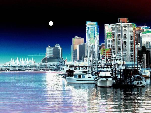 Vancouver Digital Art - Vancouver Harbor Moonrise  by Will Borden