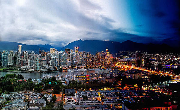 Multiple Exposure Digital Art - Vancouver Skyline - 4 Hours by Martin Krzywinski