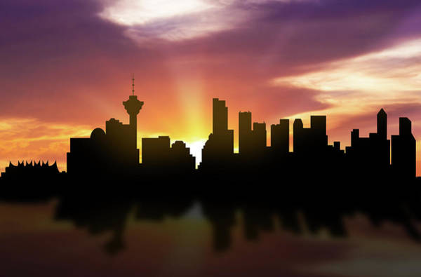 Vancouver Skyline Sunset Cabcva22 Art Print