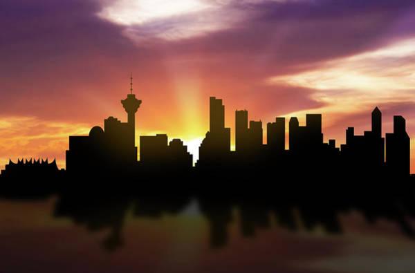 Vancouver Digital Art - Vancouver Skyline Sunset Cabcva22 by Aged Pixel