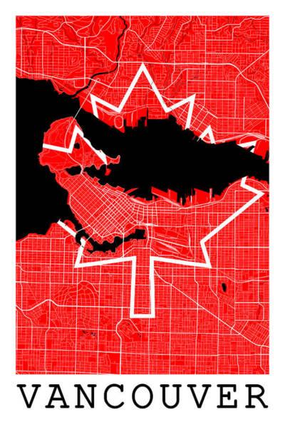 Vancouver City Digital Art - Vancouver Street Map - Vancouver Canada Road Map Art On Canada Flag Symbols by Jurq Studio