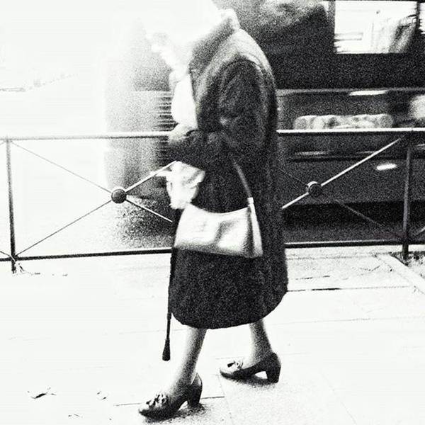 Vanishing Lady #woman #city #walking Art Print