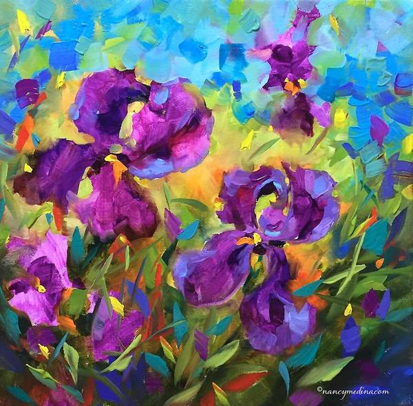 Medina Wall Art - Painting - Vanishing Violet Irises by Nancy Medina