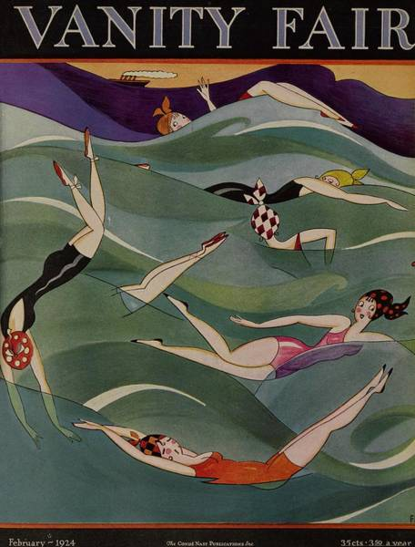 Swimsuit Drawing - Vanity Fair February 1924 Cover  by A H Fish