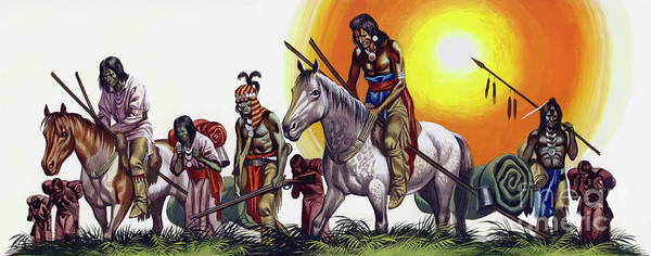 Wall Art - Painting - Vanquished Native American Indians  by Ron Embleton