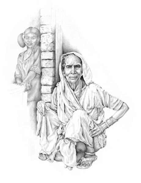 Drawing - Varanasi Woman by Karla Beatty