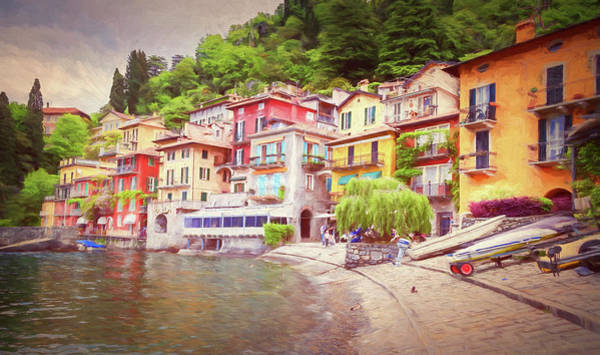 Wall Art - Photograph - Varenna Italy Waterfront Painterly by Joan Carroll
