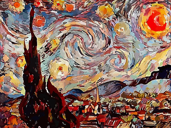 Wall Art - Digital Art - Variation On Starry Night From Vincent Van Gogh by Miroslav Nemecek