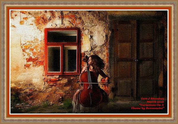 Musical Theme Painting - Variations On A Theme By Bonnoncini L A With Decorative Ornate Printed Frame. by Gert J Rheeders