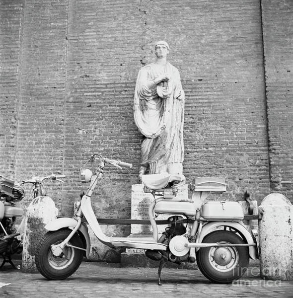 Wall Art - Photograph - Various Motorcycles And Scooters, With A Lambretta At Center, Pa by The Harrington Collection