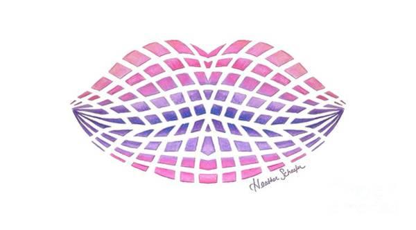 Vasarely Style Lips Art Print