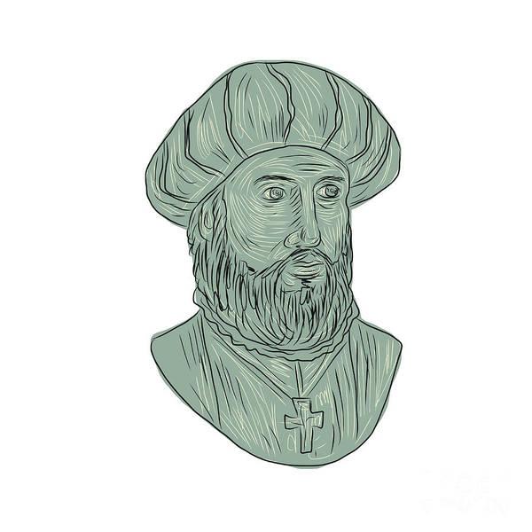 Count Digital Art - Vasco Da Gama Explorer Bust Drawing by Aloysius Patrimonio