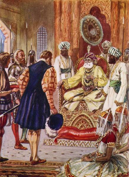 Wall Art - Drawing - Vasco Da Gama Visiting The Rajah Of by Vintage Design Pics