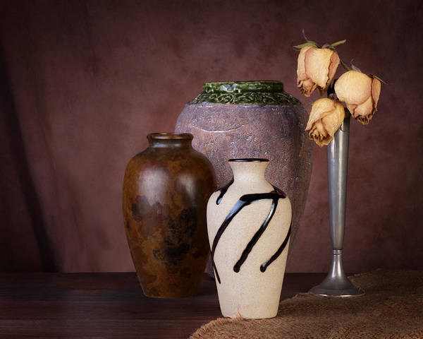 Ceramics Wall Art - Photograph - Vase And Roses Still Life by Tom Mc Nemar