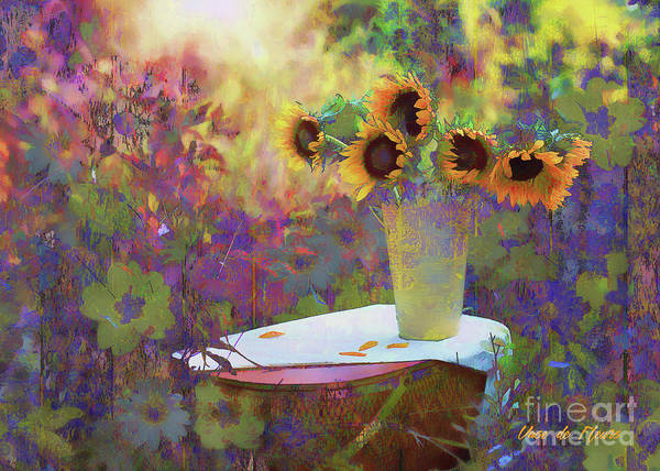 Digital Art - Vase De Fleurs 2017 by Kathryn Strick