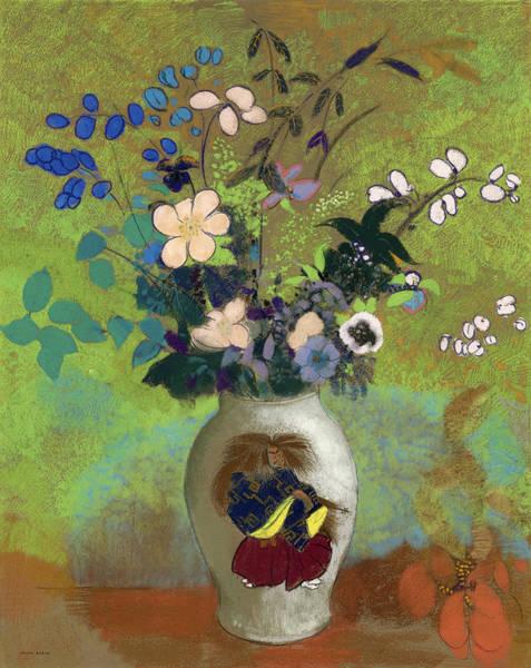 Tulip Bloom Painting - Vase Japonaise by Odilon Redon