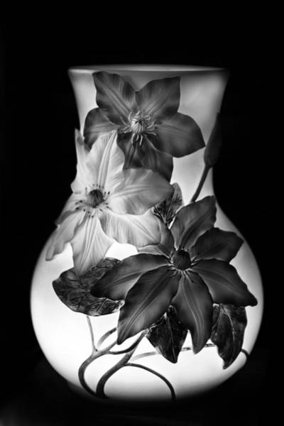 Clematis Wall Art - Photograph - Vase In Monochrome by Jessica Jenney