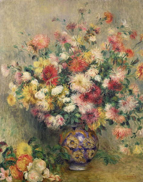 Wall Art - Painting - Vase Of Chrysanthemums by Auguste Renoir