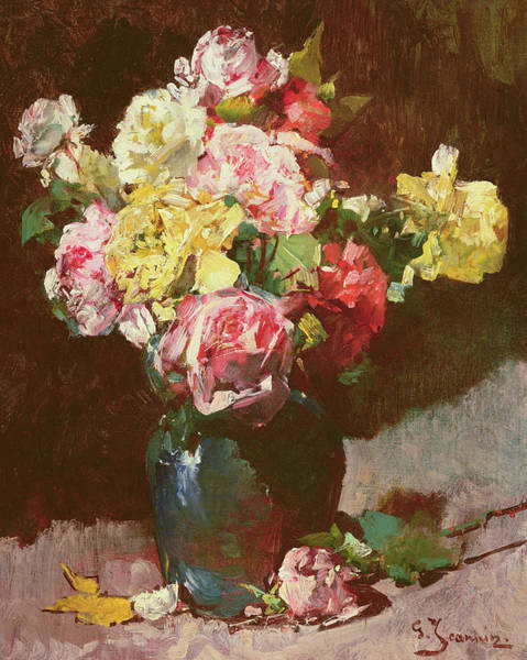Containers Painting - Vase Of Flowers by Georges Jeannin