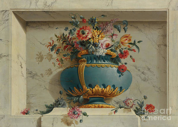 Wall Art - Painting - Vase Of Flowers In A Niche by Michel Bruno Bellenge