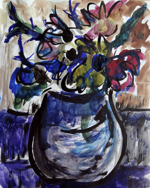Mixed Media - Vase Of Flowers by Katt Yanda