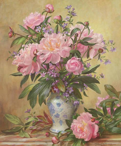 Ceramics Wall Art - Painting - Vase Of Peonies And Canterbury Bells by Albert Williams