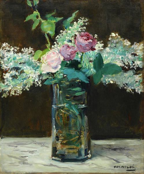 Manet Wall Art - Painting - Vase Of White Lilacs And Roses by Edouard Manet