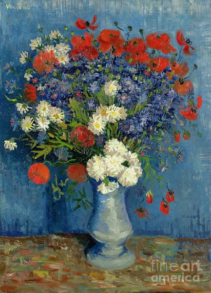 With Wall Art - Painting - Vase With Cornflowers And Poppies by Vincent Van Gogh