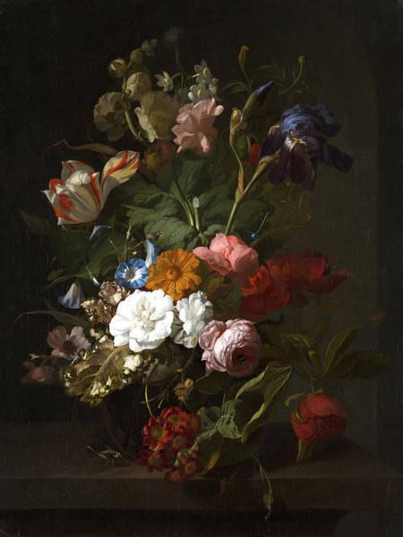 Tulip Bloom Painting - Vase With Flowers by Rachel Ruysch