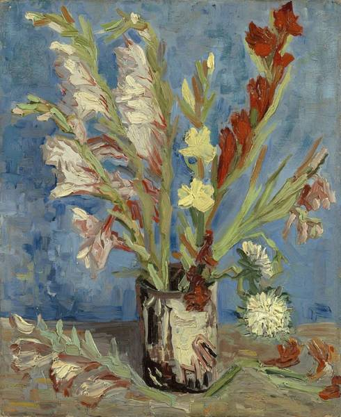 Painting - Vase With Gladioli And Chinese Asters by Artistic Panda