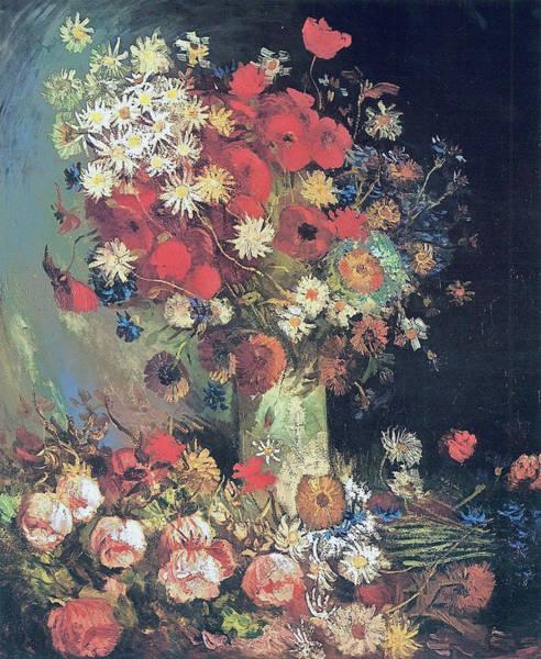 Pistil Painting - Vase With Poppies, Cornflowers, Peonies And Chrysanthemums, 1886 by Vincent Van Gogh