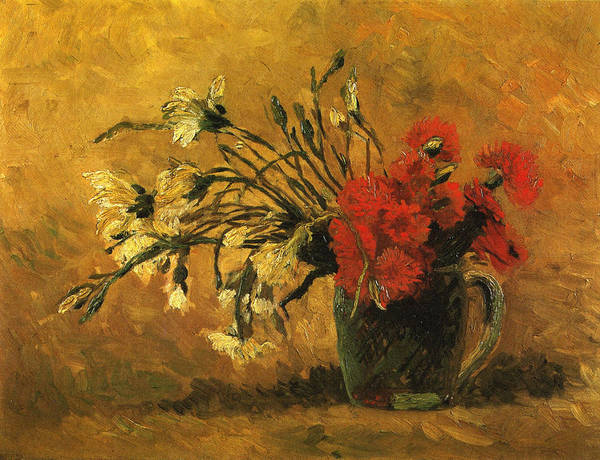 Camomile Painting - Vase With Red And White Carnations On A Yellow Background, 1886 by Vincent Van Gogh