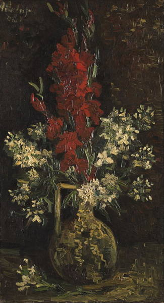 Red Amaryllis Painting - Vase With Red And White Flowers 1886 by Vincent Van Gogh