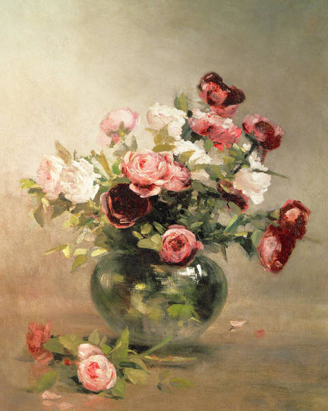 Gonzales Wall Art - Painting - Vase With Roses by Eva Gonzales