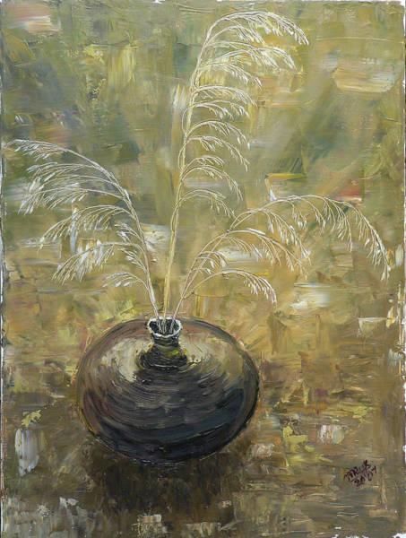Vase With Wheat. Art Print by Mila Ryk