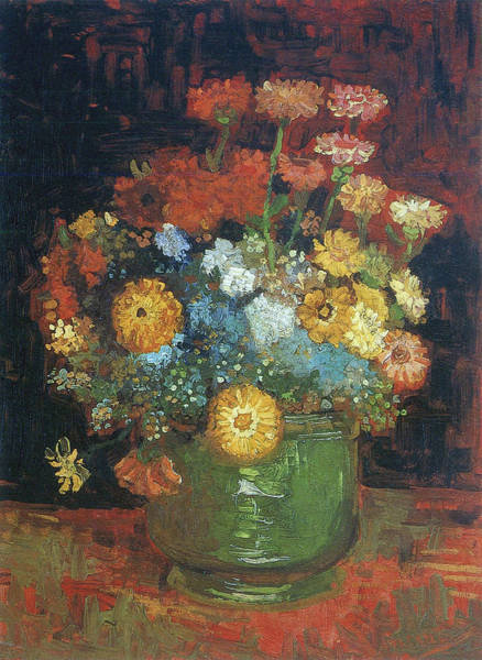 Camomile Painting - Vase With Zinnias, 1886 by Vincent Van Gogh