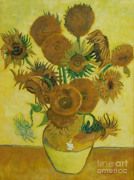 Painting - Vase Withfifteen Sunflowers by Bob Williams