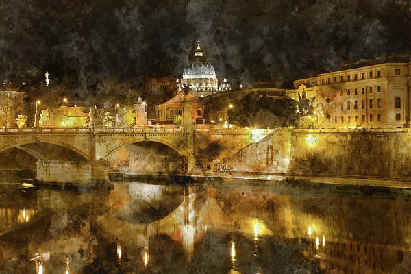 Photograph - Vatican At Night In Rome, Italy by Brandon Bourdages