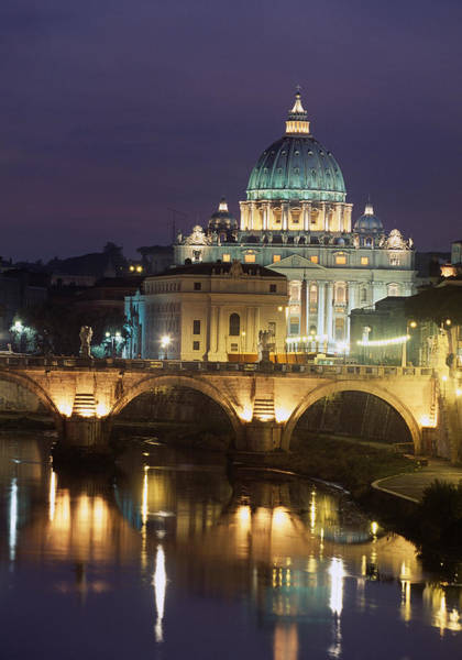 Wall Art - Photograph - Vatican Skyline  View Of St Peters Basilica In The Evening by Italian School