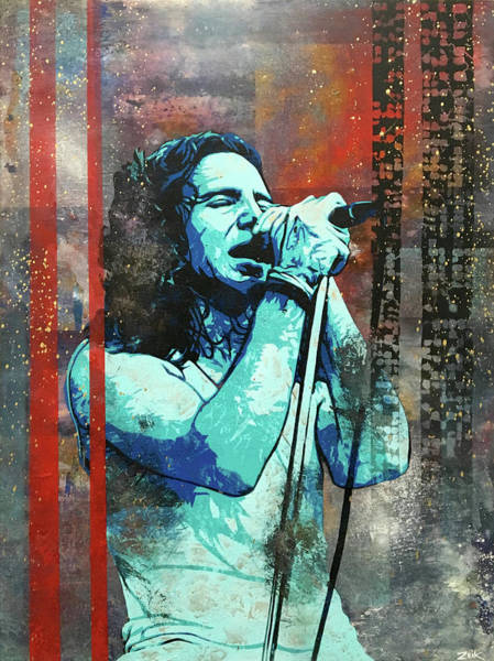 Pearl Jam Painting - Vedder - Even Flow by Bobby Zeik