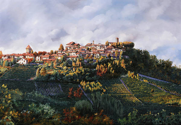 Wall Art - Painting - veduta di Verduno by Guido Borelli