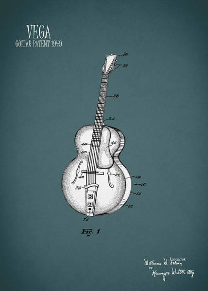 Wall Art - Photograph - Vega Guitar Patent 1949 by Mark Rogan