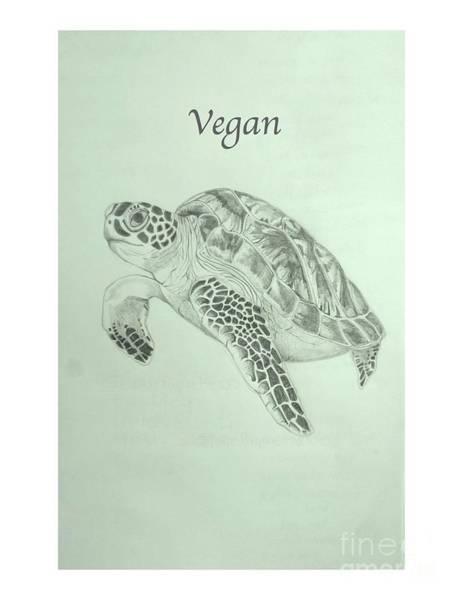 Vegan Drawing - Vegan Sea Turtle by Susan Paquette