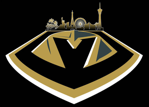 Neon Lights Digital Art - Vegas Golden Knights With Skyline by Ricky Barnard