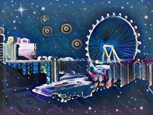 Digital Art - Vegas High Rollin Starry Nite by Karen Buford