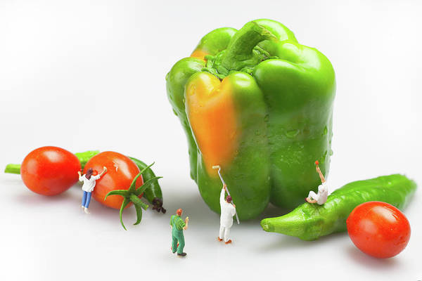 Wall Art - Painting - Vegetable Painting Little People On Food by Paul Ge