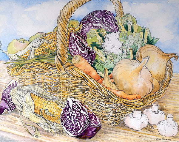 Cabbage White Painting - Vegetables In A Basket by Joan Thewsey