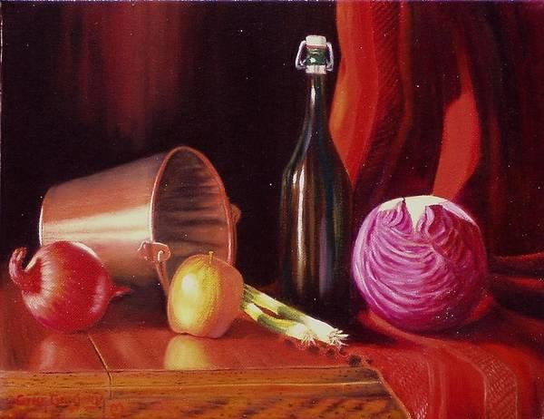 Painting - Veggie Bucket. by Gene Gregory