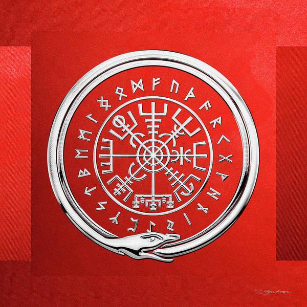 Icelandic Digital Art - Vegvisir - A Magic Icelandic Viking Runic Compass - Silver On Red by Serge Averbukh