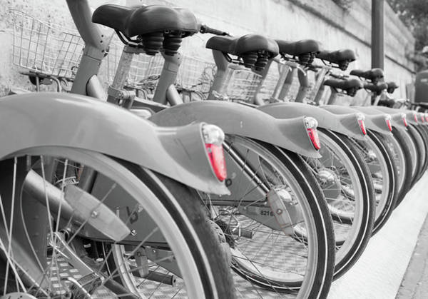 Photograph - Velib City Bikes Paris by Helen Northcott